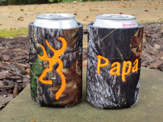 2 Personalized deer head camo can koozies. Custom made.  You choose thread color.