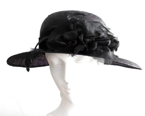 Straw Hat Fall Fashion Women's 1920s Hat Black Straw Hat 1930's Hat 1940s Hat Art Deco Hat Vintage Inspired Hat Handmade Hat Cloche Hat