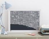 Brighton Type Map - decorative screen print