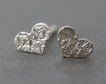 Sterling Heart posts stud earrings wedding bridal flower girl birthday anniversary valentines day gift