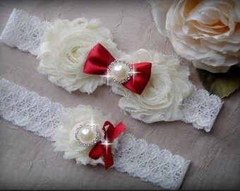 Wedding Garter Set, Swarovski Crystal garter, Red Garter, Ivory Bridal Garter Set, Rhinestone Garter