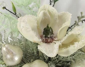 Winter Sleigh Beaded Ivory and Mint Green Magnolia Silk Floral Centerpiece Arrangement