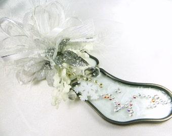 White Snowflake Stained Glass and Swarovski Stocking Suncatcher or Ornament