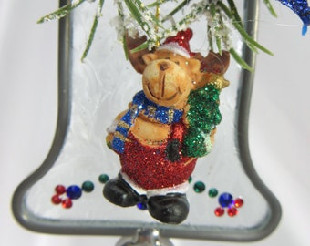 ChrisMoose on the Loose Stained Glass and Swarovski Bell Suncatcher or Ornament