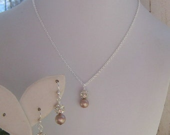Bridesmaids Jewelry, Pearl Fireball Necklace Set, On Fire