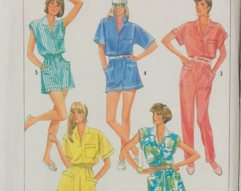 1980s Dress, Jumpsuit and Rompers Simplicty 7951 Sewing Pattern Size 6 - 12, Bust 30 - 34