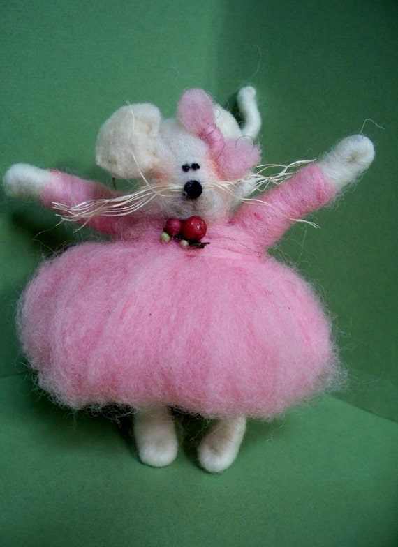 Millie Mouse Felted Wool Ornament