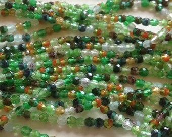 Czech Glass 3mm Faceted Fire Polish Beads (50) Enchanted Forest, (50) Green/Orange Mix 3mm Beads,Jewelry Supplies,Beads