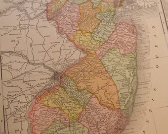 1908 State Map New Jersey - Vintage Antique Map Great for Framing 100 Years Old