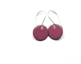 Small Purple Earrings - Small Earrings - Purple Enamel / Candies
