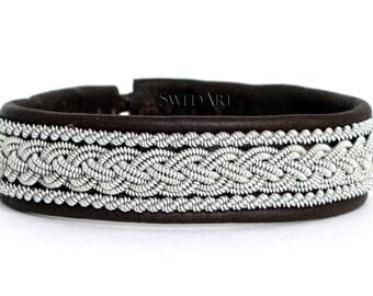 Sarah McLachlan SwedArt B05 Classic Lapland Bracelet Reindeer Leather Pewter and Silver Braids Antler Button Dark Brown X-LARGE