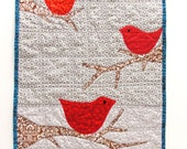 """red birds quilt- """"Winter Birds''- three red birds on gray and white, wall art quilt"""