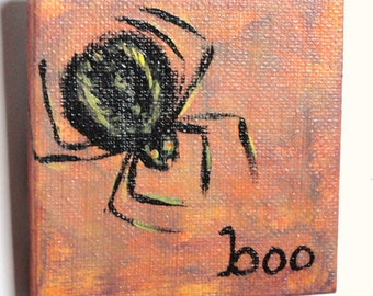Halloween painting- hand painted black and yellow spider on orange background, Halloween decoration, arachnophobe, creepy,  READY TO SHIP