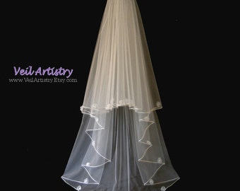 Wedding Veil, Organza Flower Veil, Radiance Veil, 2-Tier Veil, Satin Cord Edge Veil, Ballet Waltz Veil, Made- to-Order Veil, Bespoke Veil