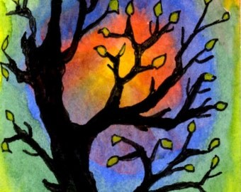 """ACEO """"Firestorm Nearing""""  A print of an original watercolor and ink card."""