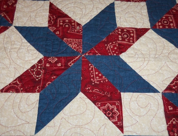 Quilted Table Runner Sale Priced  Americana Carpenter's Wheel