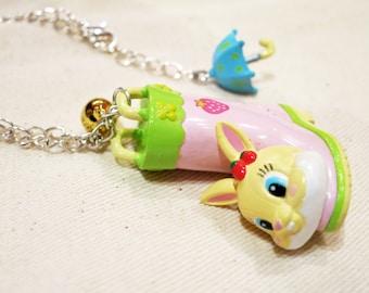 Rare Disney Miss. Rabbit Rainboot Necklace. Japan. Bambi
