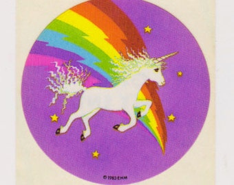 Vintage 80s Sky Ent Glossy Rainbow Unicorn Sticker Mod - Version 2