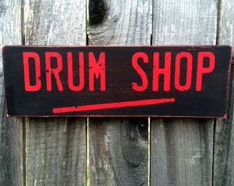 Distressed Drum Shop wood Sign, Music Store