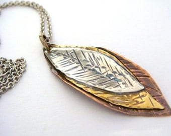 Mixed Metal Necklace - Autumn Leaves - Silver - Copper - Brass - Textured Leaf Necklace - Handmade Fall Jewelry