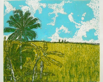 Ricelands, limited edition linoleum block print, printed and signed in pencil by the artist