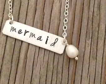 Sterling silver hand stamped 1/4 inch bar pendant necklace handstamped with mermaid with pearl dangle