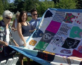 Wedding Quilt from his and her clothing blankets and things