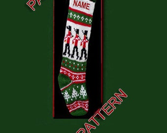 Pattern only  ---  Hand knit Christmas stocking,  nutcracker, snowflakes and Christmas trees