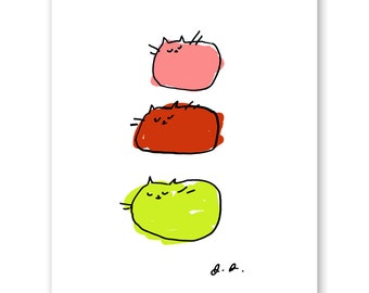 Gelato Cats - Cat Print - Modern Cat Art - Summer