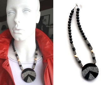 Vintage Statement Black and White Necklace
