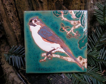 Tufted Titmouse . CUSTOM ORDER - 4-6 wks production time,bird tile with personality in the Arts and Crafts style, great for kitchen or bath