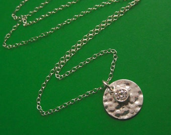Hammered Sterling Silver Disc and Bezel Set Cubic Zirconia Drop Necklace