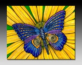 Butterfly and Sunflower Ceramic Tile Wall Art