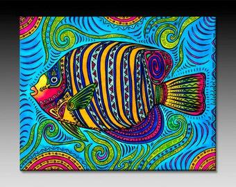 Angel Fish Ceramic Tile Wall Art