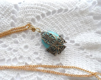 Oval Turquoise Brass Filigree Wrap Gold Bail Gold Chain Vintage Look Victorian Style December Birthstone
