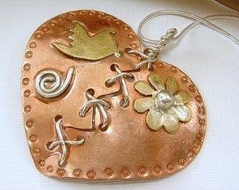 Mixed Metal Broken Mended Heart Pendant with Snake Chain Necklace