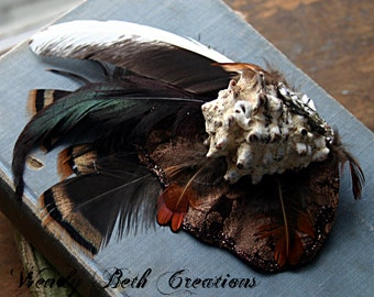 Brethren Hair Clip Fascinator - Mermaid, Tribal, Belly Dance, Steampunk, Shell, Rhinestone