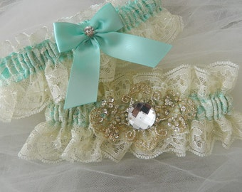 Bridal Garter Set, Aqua Blue And Ivory Chantilly Lace Garter