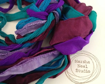 Hand Dyed Silk Ribbon - Silky Ribbon - Fairy Ribbon - Jewelry Supplies - Wrap Bracelet - Craft Supplies - Royal Monet Color Palette
