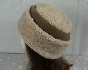 Adult BERBER PILLBOX Hat, nubby ecru berber and fleece hat, Women's Winter Hat