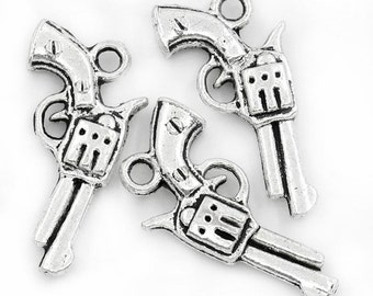 BULK - Gun/Pistol Charm - Set of 50 - #P147B
