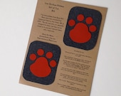 Charcoal Gray and Orange Paw Print Knee Patch, Applique, Iron On Patch, Jeans Repair Kit, Set of  TWO, One for each knee!