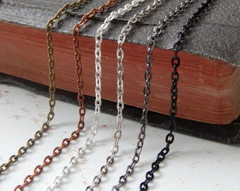 20 Vintage Style Rolo Chain Necklaces 24 inches Mix and Match Antique Bronze, Antique Copper, Silver, Antique Silver, Gunmetal Link Chain