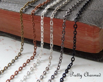 10 Antique Style 24 inch Necklace Chains Oval Link Lobster Clasp Mix and Match Bronze, Copper, Silver, Gunmetal, Black
