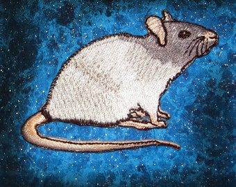 Fancy Silver Blue Hooded Rat Steam Punk  Iron on Patch