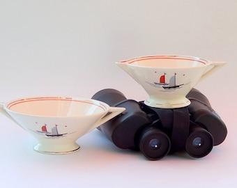 Atomic Art Deco Cream & Sugar Set, Salem Streamline Shape, Nautical Sailing Ships Pattern_Grade C