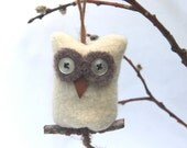 Snowy Owl ... eco felt white wool ornament all recycled (1) (woolcrazy)