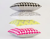 Truly Outrageous - neon yellow and grey chevron screen print, organic pillow