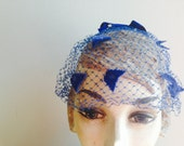 1960s Vintage Royal Blue Net Veil Hat