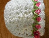 CROCHET PATTERN Baby Bonnet Tulip spring 0 to 9 mo hat girl girls babies flowers flower skill level intermediate